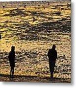 Strangers On A Shore - Walking Silhouettes Metal Print