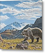 Walking The Ridge - Grizzly Metal Print
