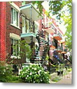 Walking Verdun In Summer Winding Staircases And Pathways Urban Montreal City Scenes Carole Spandau Metal Print