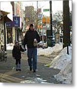 Walking With Dad Metal Print