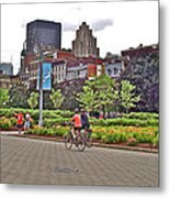Walkway By Quays Along Saint Lawrence River In Montreal-qc Metal Print