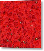 Wall Of Red Roses Metal Print