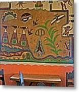 Wall Painting In Painted Desert Inn Cafe In Petrified Forest National Park-arizona  Metal Print