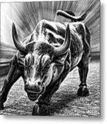 Wall Street Bull Black And White Metal Print