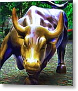 Wall Street Bull V2 - Square Metal Print by Wingsdomain Art and Photography