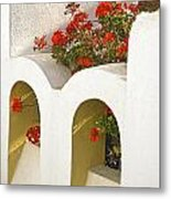 Wall With Red Flowers Metal Print