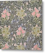 Wallpaper Design With Tulips Daisies And Honeysuckle  Metal Print