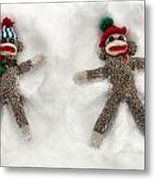 Wally And Petey Snow Angels Metal Print