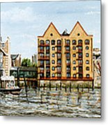 Wapping Thames Police Station And Rebuilt St Johns Wharf London Metal Print
