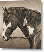 War Horse Aged Photo Fx Metal Print