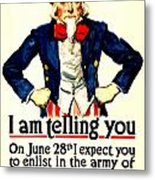 War Poster - Ww1 - Uncle Sam Savings Metal Print