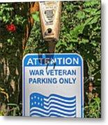 Veteran Parking Sign Metal Print
