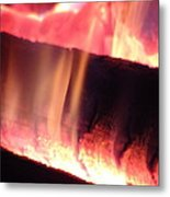 Warm Glowing Fire Log Metal Print