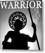 Warrior White Text Metal Print