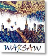 Warsaw Skyline Postcard Metal Print