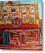 Warshaw's Bargain Fruit Store Rue St Laurent Montreal Paintings City Scene Art Carole Spandau Metal Print
