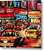 Warshaw's Bargain Fruits Store Montreal Night Scene Jewish Montreal Painting Carole Spandau Metal Print
