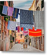 Washing Hanging Across Street, Venice Metal Print