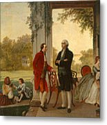 Washington And Lafayette At Mount Vernon Metal Print