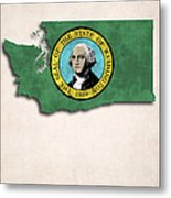 Washington Map Art With Flag Design Metal Print