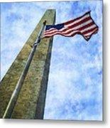 Washington Monument And Flag Metal Print