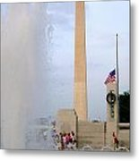 Washington Monument At The Wwii Memorial Metal Print