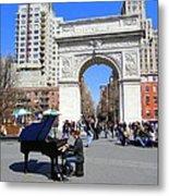 Washington Square Pianist Metal Print