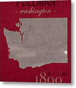 Washington State University Cougars Pullman College Town State Map Poster Series No 123 Metal Print