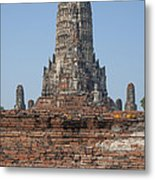 Wat Chaiwatthanaram Ubosot Platform And Buddha Images Dtha0189 Metal Print