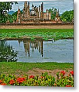 Wat Mahathat In13th Century Sukhothai Historical Park-thailand Metal Print