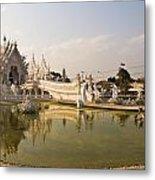 Wat Rong Khun And Its Reflection In Chiang Rai Thailand  Metal Print