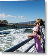 Watching From The Pier Metal Print