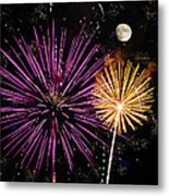 Watching Pink And Gold Explosion - Fireworks And Moon II Metal Print