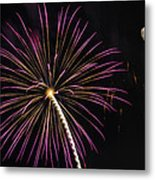 Watching Pink And Gold Explosion - Fireworks And Moon I  Metal Print