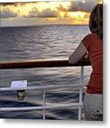 Watching The Sunrise At Sea Metal Print