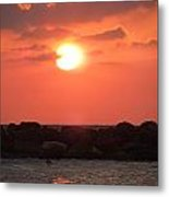 Watching The Sunset Over The Mediterranian Metal Print