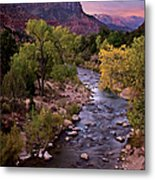 Watchman  Tower Zion Sunrise Metal Print by Dave Dilli
