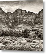 Watchman Trail In Sepia - Zion Metal Print