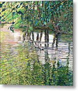 Water And Woodland Metal Print by Nick Payne