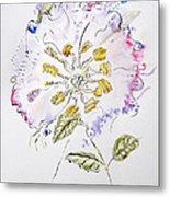 Water Color And Ink Flower Metal Print