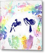 Water Color Bird Fight Metal Print