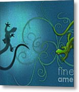 water colour print of twin geckos and swirls Duality Metal Print