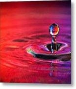 Water Drop In Red And Blue - Water Drop Photograph Metal Print