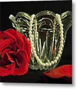 Water Drops And Glass Metal Print
