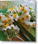 Water Drops On A Bouquet Metal Print