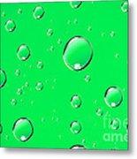 Water Drops On Green Metal Print