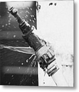 Water Escaping From A Loose Fitting Hose And Tap On Orange Post Kilkeel Harbour County Down Northern Ireland Metal Print