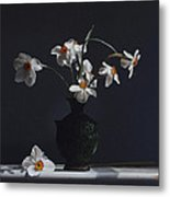 Water Jug With Narcissus   Metal Print by Larry Preston