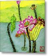 Water Lilies  Chinese Watercolor Art Metal Print