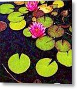 Water Lilies With Pink Flowers - Vertical Metal Print